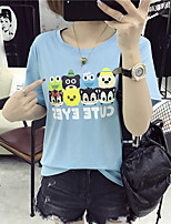 Women's Casual/Daily Cute T-shirt,Solid Print Round Neck Short Sleeve Cotton