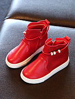 Girls' Boots Fall Winter Comfort Leatherette Dress Casual Flat Heel Champagne Red Black
