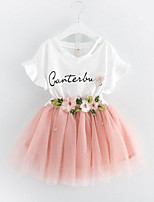 Girls' Going out Casual/Daily Floral Patchwork Sets,Cotton Polyester Summer Short Sleeve Clothing Set