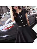 Women's Casual/Daily Simple T-shirt Dress Suits,Solid Round Neck