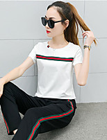 Women's Casual/Daily Sports Simple Active T-shirt Pant Suits,Solid Round Neck Short Sleeve