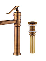 Contemporary Centerset Waterfall Widespread Pre Rinse with  Ceramic Valve Single Handle One Hole for  Antique Copper  Bathroom Sink Faucet