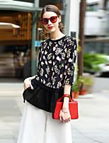 Tee-shirt Femme,Fleur Sortie Décontracté / Quotidien Travail simple Manches ¾ Col Arrondi Soie Coton