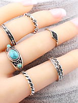 Luxury 7Pcs/Set Turquoise Ring Bohemian Ethnic Antique Silver Turkish Midi Finger Boho Rings Set Female Charms Jewelry For Women