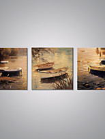 Stretched Canvas Print Landscape Painting Boats by a River Canvas Art for Wall Decoration