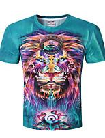 Herren Druck Einfach Lässig/Alltäglich T-shirt,Rundhalsausschnitt Sommer Kurzarm Polyester Undurchsichtig