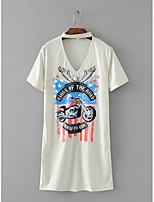 Tee-shirt Femme,Imprimé Sortie Décontracté / Quotidien Sexy simple Chic de Rue Eté Manches Courtes Licou Coton Fin Moyen