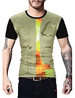 Masculino Camiseta Para Noite Casual Férias Simples Moda de Rua Activo Primavera Verão,Estampado Estampa Colorida Algodão PoliésterDecote