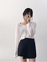 Normal Pullover Femme Sortie Décontracté / QuotidienCouleur Pleine Col en V Manches Longues Rayonne Printemps Fin Elastique