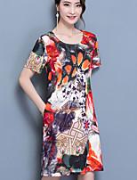 Trapèze Ample Robe Femme Décontracté / Quotidien Grandes Tailles Sexy simple,Fleur Col Arrondi Au dessus du genou Manches Courtes Soie Eté