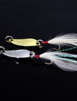 2 pcs Metal Bait Fishing Lures Pike Gold Silver g/Ounce,80 mm/3-1/4