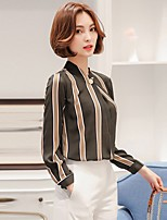Women's Going out Casual/Daily Holiday Sexy Vintage Simple All Seasons Summer Blouse,Striped V Neck Long Sleeve Rayon Thin