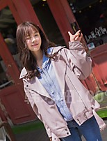 Women's Going out Casual/Daily Simple Spring Leather Jacket,Solid Stand Long Sleeve Regular PU