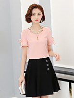 Women's Casual/Daily Cute Blouse,Solid V Neck Short Sleeve Cotton Nylon