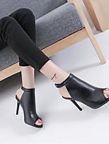 Feminino-Saltos-Sapatos clubePreto-Couro Ecológico-Casual