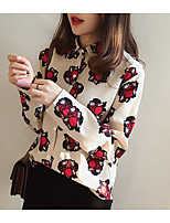 Women's Casual/Daily Simple Shirt,Print Shirt Collar Long Sleeve Others