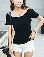 Women's Slim Casual Cute Summer T-shirt Solid Boat Neck Short Sleeve Cotton Thin