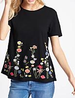 Tee-shirt Femme,Broderie Sortie Décontracté / Quotidien Sexy simple Chic de Rue Eté Manches Courtes Col Arrondi Soie Coton Moyen