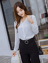 Women's Casual/Daily Simple Shirt,Solid V Neck Long Sleeve Others