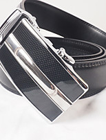 Men's casual fashion black leather belt buckle automatically