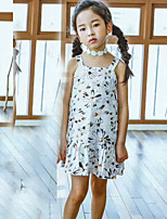 Girl's Print Lattice Dress,Cotton Summer Short Sleeve
