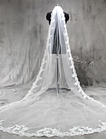 Wedding Veil One-tier Cathedral Veils Lace Applique Edge Tulle