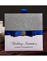 Personalized Silver Glitter Pocket Wedding Invitations Cards With Blue Ribbon and Buckle RSVP and Envelope Engagement Party Cards Bachelorette Party