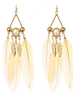 lureme® Drop Earrings Imitation Pearl Geometric Gothic Inlaid Sexy Carved Elegant Imitation Pearl Feather Alloy Geometric Wings / Feather Jewelry
