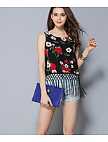 Women's Casual/Daily Simple Summer T-shirt,Floral Round Neck Short Sleeve Cotton Thin