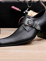 Черный-Для мужчин-Свадьба Для офиса Для вечеринки / ужина-Кожа-На плоской подошве-Удобная обувь Оригинальная обувь Формальная обувь-Туфли