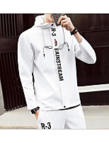 Men's Casual/Daily Hoodie Solid Hooded strenchy Cotton Long Sleeve Spring
