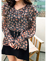 Women's Going out Simple Blouse,Floral V Neck Long Sleeve Polyester