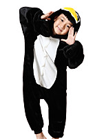 Kigurumi Pajamas Penguin Leotard/Onesie Festival/Holiday Animal Sleepwear Halloween Black Flannel Cosplay Costumes For KidHalloween