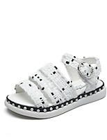 Girls' Sandals Summer Gladiator Comfort Fabric Outdoor Office & Career Party & Evening Casual Flat Heel Magic Tape Black White