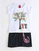 Girls' Casual/Daily Print Sets,Cotton Summer Clothing Set