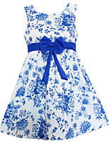 Fashion Blue Flower Print Dresses Party Pageant Casual Children Clothes