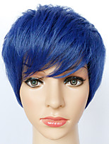 Cosplay Wigs Blue Short Anime Cosplay Wigs 24 CM Heat Resistant Fiber Female