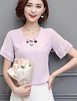 Women's Going out Vintage Blouse,Solid V Neck Short Sleeve Others