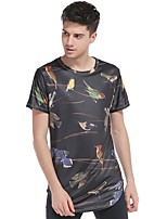 Men's Going out Casual/Daily Sports Simple Street chic Active T-shirt,Print Round Neck Short Sleeve Cotton Polyester