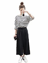 Women's Casual/Daily Simple T-shirt Pant Suits,Striped Round Neck