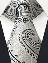 SXL7 Classic Dress Men's Neckties Silver Paisley 100% Silk Business Handmade