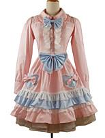 Une Pièce/Robes Lolita Classique/Traditionnelle Rococo Cosplay Vêtrements Lolita Couleur Pleine Manches longues Genou Robe Jupon Pour