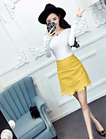 Women's Going out Casual/Daily Sexy Simple T-shirt Skirt Suits,Solid Off Shoulder