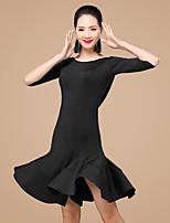 Shall We Latin Dance Dresses Women Training Polyester / Milk Fiber / Ruffles 2 Pieces Dance Costume