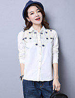 Women's Casual/Daily Simple Shirt,Solid Embroidered Shirt Collar Long Sleeve Cotton