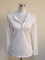 Women's Casual/Daily Simple Fall Shirt,Solid Round Neck Long Sleeve Polyester Opaque