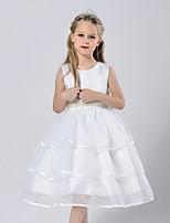 Девичий Платье Однотонный
