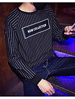Men's Casual/Daily Going out Active Street chic Sweatshirt Letter Striped Round Neck strenchy Cotton Long Sleeve Spring Fall