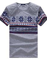 Masculino Camiseta Para Noite Casual Bandagem Simples Activo Todas as Estações Verão,Estampado Algodão Elastano Decote Redondo Manga Curta