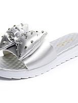 Damen Sandalen Komfort PU Frühling Sommer Kleid Lässig Strass Schleife Flacher Absatz Weiß Silber Flach